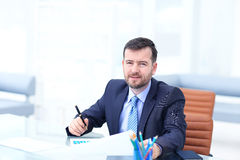 Business man using laptop and modern devices in office Royalty Free Stock Image