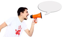 Business man using megaphone Stock Images