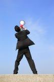 Business man using megaphone Stock Image