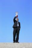 Business man using megaphone Royalty Free Stock Photos