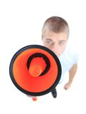 Business man using megaphone on white background Stock Image