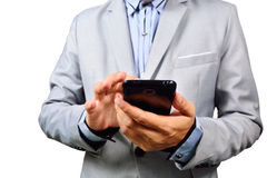 Business man using mobile smart phone Royalty Free Stock Photo