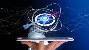 Business man using a navigation compass on a smartphone - 3d ren. View of a Business man using a navigation compass on a smartphone - 3d rendered Royalty Free Stock Photo