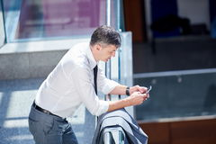 Business man using phone Royalty Free Stock Photos