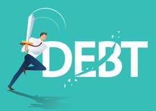 Business man using sword cut debt, business concept of debt settlement vector illustration. Business man using sword cut debt, business concept of debt Stock Images