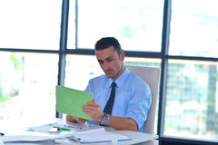 Business man using tablet compuer at office Stock Image