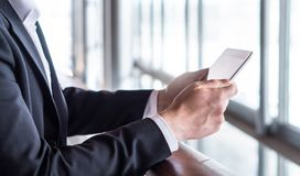 Business man using tablet or reading news with tablet. stock photography