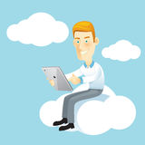 Business man using a tablet. Royalty Free Stock Images