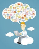 Business man using a tablet sitting on a cloud. Stock Photo