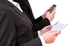 Business man using tablet and smartphone Stock Photo