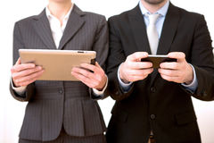 Business man using tablet and smartphone Royalty Free Stock Photography