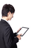 Business man using touch pad Stock Image