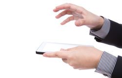 Business man using a touch screen device. Stock Photo