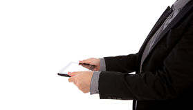 Business man using a touch screen device. Royalty Free Stock Photo