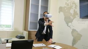 Business Man Using VR Glasses stock video