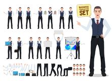 Business man vector character creation set with male office person stock illustration