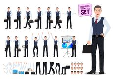 Business man vector character creation set with male office worker holding briefcase. With different poses and hand gestures for business presentation isolated stock illustration