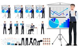 Business man vector character creation set with male sales person showing chart board presentation royalty free illustration