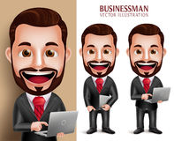 Business Man Vector Character Happy Holding Laptop Notebook. 3D Realistic Professional Business Man Vector Character Happy Holding Laptop Notebook  in White Royalty Free Stock Photos