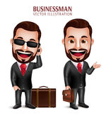 Business Man Vector Character Happy Traveling with Suitcase. 3D Realistic Professional Business Man Vector Character Happy Traveling with Suitcase  in White Royalty Free Stock Image