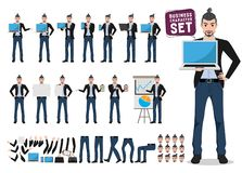 Business man vector character set. Creative artist or designer cartoon character vector illustration
