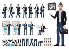 Business man vector character set. Male creative designer or artist holding briefcase royalty free illustration