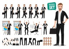 Business man vector character set. Male office person cartoon character creation royalty free illustration
