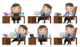 Business man vector characters set with businessman or manager Stock Photos