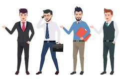 Business man vector characters set with professional male office and sales person. Wearing business attire in different gestures and postures. Vector vector illustration