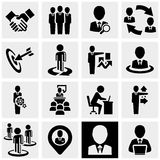 Business man vector icons set on gray. Royalty Free Stock Photos