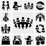 Business man vector icons set on gray Stock Photos