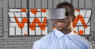 Business man in virtual reality headset against grey and orange hand drawn windows Royalty Free Stock Image