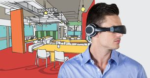 Business man in virtual reality headset against  hand drawn office and white transition Stock Image