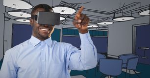 Business man in virtual reality headset pointing against blue hand drawn office Stock Photography