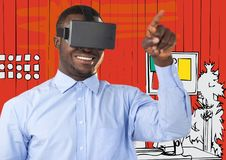Business man in virtual reality headset pointing against orange hand drawn office Stock Images