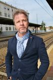 Business man waiting in a train station Royalty Free Stock Images
