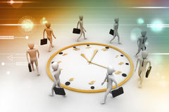 Business man walk around the clock Stock Image