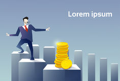 Business Man Walk Financial Chart Bar To Coin Stack Money Finance Success Concept Royalty Free Stock Photos