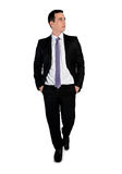 Business man walk forward. Isolated business man walk forward Royalty Free Stock Images