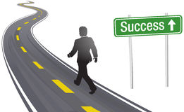 Business man walk road sign to Success Stock Photo