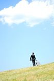 Business man walking. In nature Royalty Free Stock Images