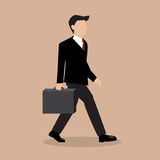 Business Man Walking with Briefcase Royalty Free Stock Photos