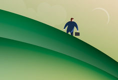Business Man walking down a hill. Illustration of business man wearing suit holding brief case walking down a hill Royalty Free Stock Photography