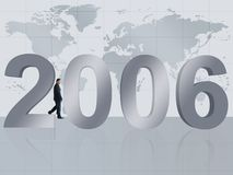 Business man walking by new year 2006 Royalty Free Stock Photo