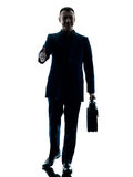 Business man walking silhouette isolated Royalty Free Stock Photography