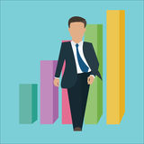 Business man walking standing confident confidence with growth bar chart Stock Photo