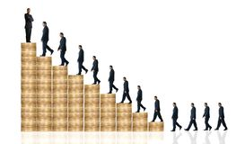 Business man walking up coin graph - financial success Stock Image