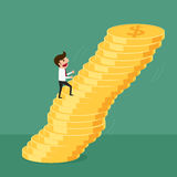 Business man walking up on money stack,  risk and being unstable. Cartoon Vector Illustration Royalty Free Stock Images