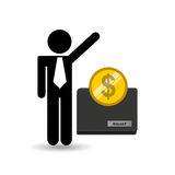 Business man wallet money icon graphic. Vector illustration eps 10 Stock Photos
