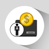 Business man wallet money icon graphic. Vector illustration eps 10 Royalty Free Stock Images